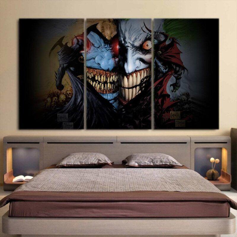 Batman V Joker Face Off Design 3pcs Wall Art Canvas Print
