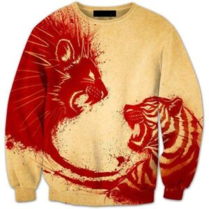 Bloody Lion Versus Tiger Vintage Epic All Over Print Yellow Sweatshirt - Superheroes Gears