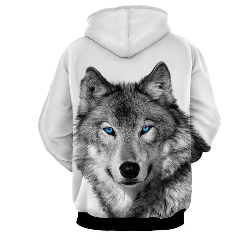 Blue Eyed Gray Wolf Friendly Face Adorable White Hoodie