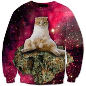 Cannabis Weed Kush Ganja Kitten Cat in Space Galaxy Dope Sweatshirt - Superheroes Gears