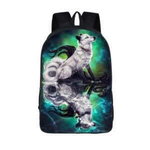 Captivating Long Tailed Wolf Art Bluegreen Aura Backpack