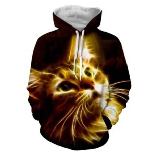 Cat Eyes Innocent Look Glowing Art Print Autumn Hoodie - Superheroes Gears