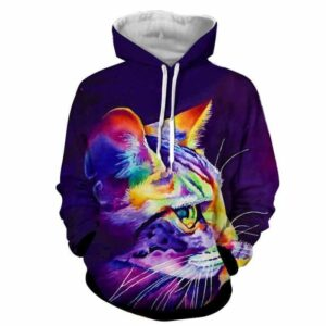 Cat Face Colorful Fan Art Drawing Pretty Design Hoodie - Superheroes Gears