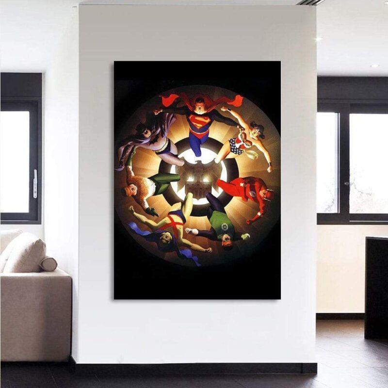 Circle Of Superheroes Justice League 1pcs Canvas Print