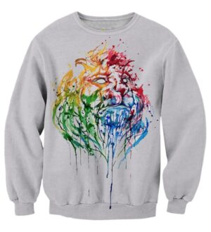 Colorful Art Painting Jungle King Lion White Fashionable Sweatshirt - Superheroes Gears