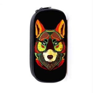 Colorful Happy Wolf Creative Art Design Pencil Case