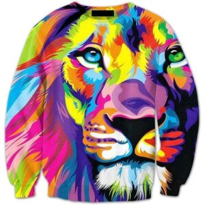 Colorful King Lion Streetwear Full Animal Print 3D Pullover Crewneck - Superheroes Gears