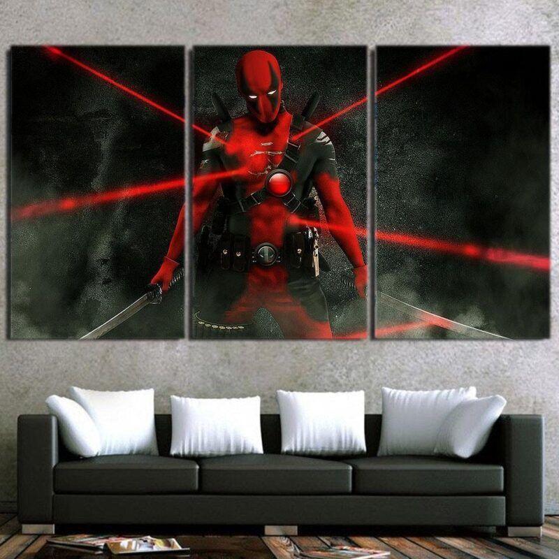 Comic Superhero Deadpool Laser Lights 3pcs Canvas Print