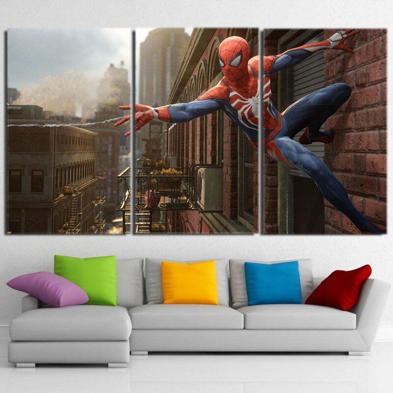 Cool Spider-Man Wall Clinging 3pcs Wall Art Canvas Print