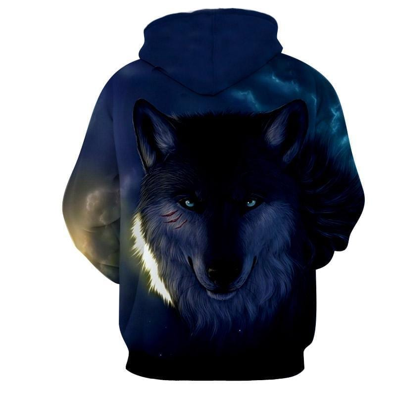 Crestfallen Wolf Wounded Face Excellent Quality Hoodie
