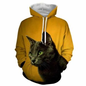 Curious Cat Face Portrait Simple Design Yellow Hoodie - Superheroes Gears