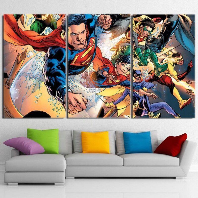 Cute Flying Justice League Superheroes 3pcs Canvas Print