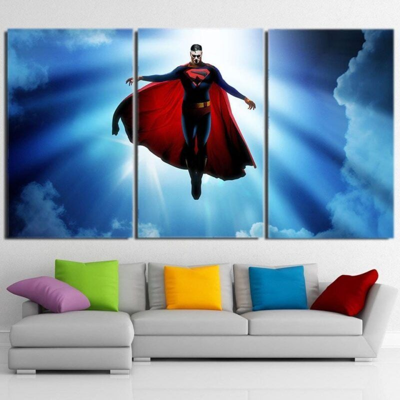 DC Comics Superman In the Sky Design 3pcs Canvas Print