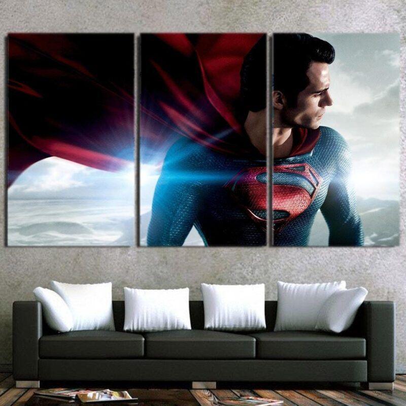 DC Comics Superman Side View Design 3pcs Canvas Print