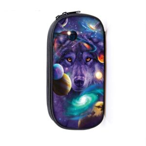 Delicate Face Wolf Galactic Cosmic Universe Purple Pencil Case