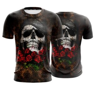 Dope Skull Wearing Beanie On Roses Black T-Shirt