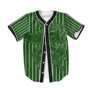 Dragon Ball Z Cell Stencil Art Green Baseball Jersey