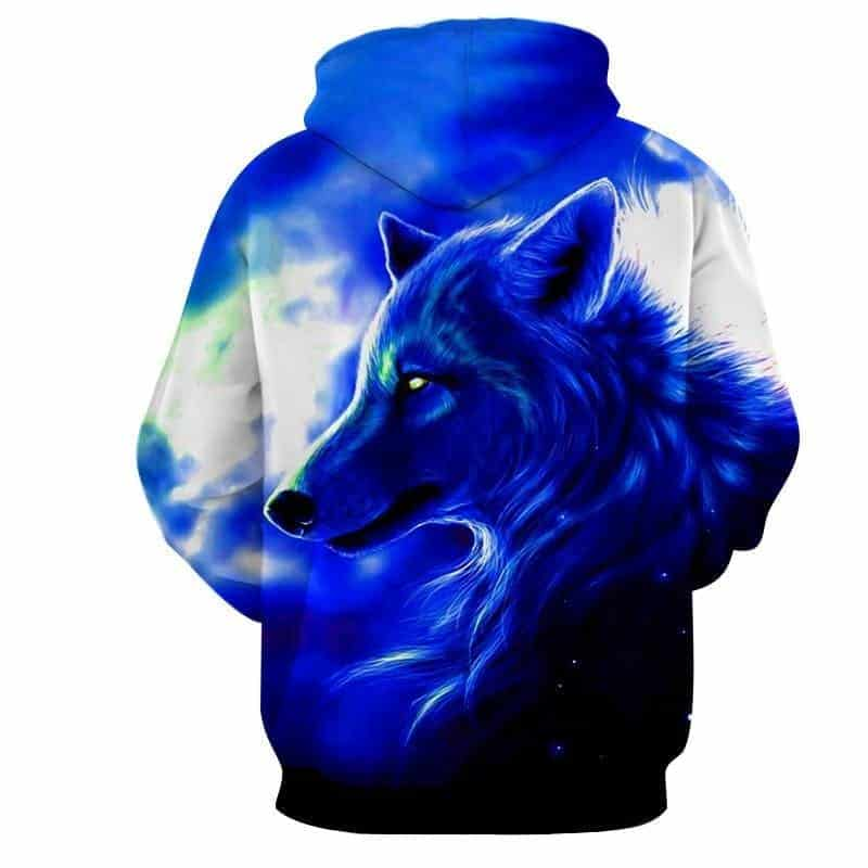 Enchanting Canine Wolf Wild Animal Magnificent Blue Hoodie