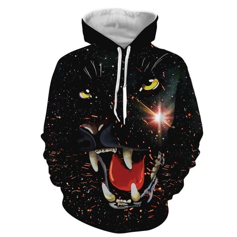 Fiery Outraged Growling Black Panther Black Hoodie