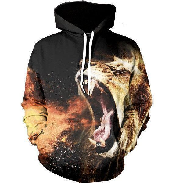 Fire Breath Lion Angry Dangerous Mane Hot Creative Design Hoodie - Superheroes Gears