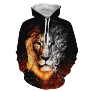 Flaming And Smoking Monochrome Lion Face Design Hoodie