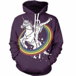 Funny High Astronaut Neil Amstrong Riding Fantastic Rainbow Unicorn Hoodie - Superheroes Gears