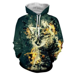 Fur Cat Portrait Graphic Design Fantastic Winter Hoodie - Superheroes Gears
