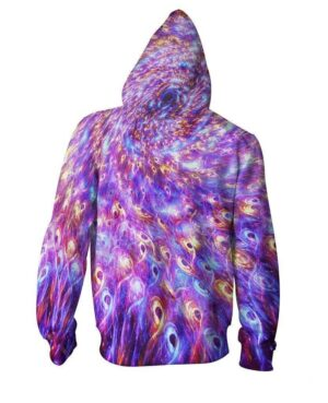 Galaxy Peacock Feather Pattern Vibrant Color Flame Effect Zipped Hoodie - Superheroes Gears