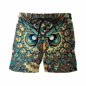 God Owl of Dreams Psychedelic Illustration Design Green 3D Shorts - Woof Apparel