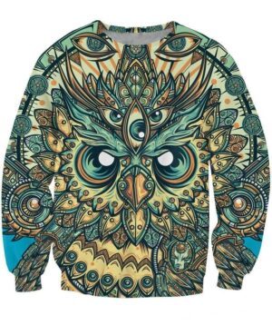 God Owl of Dreams Psychedelic Illustration Design Green 3D Sweatshirt - Woof Apparel