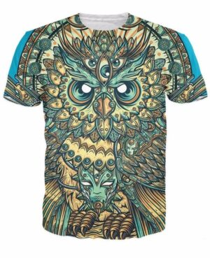 God Owl of Dreams Psychedelic Illustration Design Green 3D T-shirt - Woof Apparel