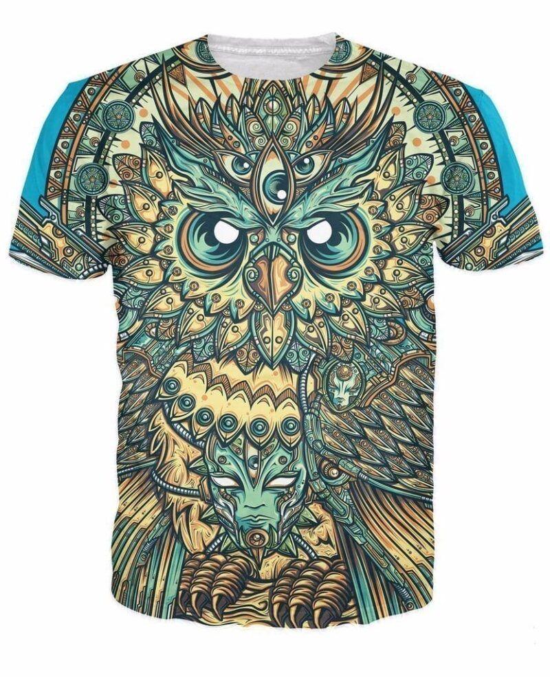 God Owl of Dreams Psychedelic Illustration Design Green 3D T-shirt - Woof Apparel