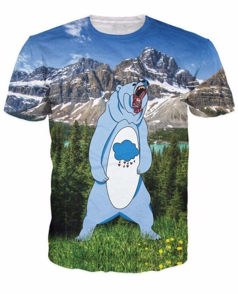 Grumpy Bear in the Mountain Scenery Fun 3D Full Print T-Shirt - Woof Apparel