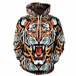 Insane Tiger Face Colorful Baroque Art Style Full Print 3D Hoodie - Woof Apparel