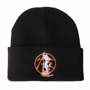 Kid Goku Flying Nimbus Kanji Symbol Black Knitted Beanie