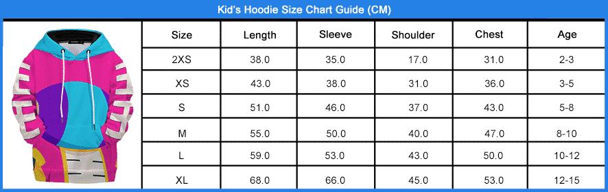 Kids Hoodies Size Chart