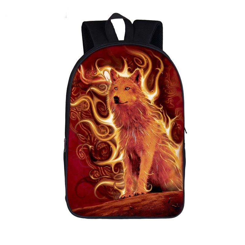 Lone Wolf Oozing with Power Cutesy Orange School Backpack