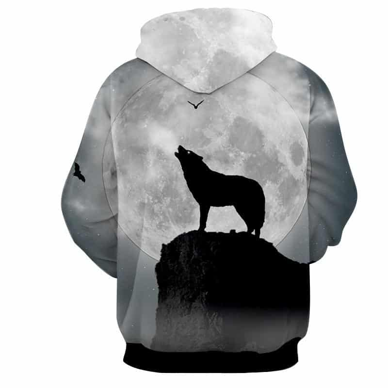 Lone Wolf Silhouette Big Bright Moon Howl Pleasant Hoodie