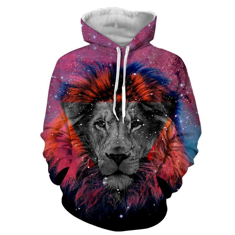 Lonely Lion King Portrait Contemporary Art Style Hoodie
