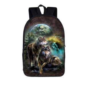 Lovely Couple Wolves Looking Out in the Wild Backpack
