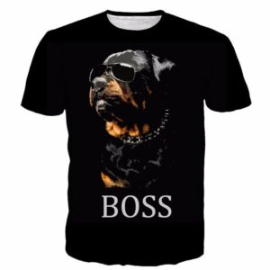 Lovely Funny Boss Rottweiler Dog Wearing Cool Glasses T-shirt - Woof Apparel