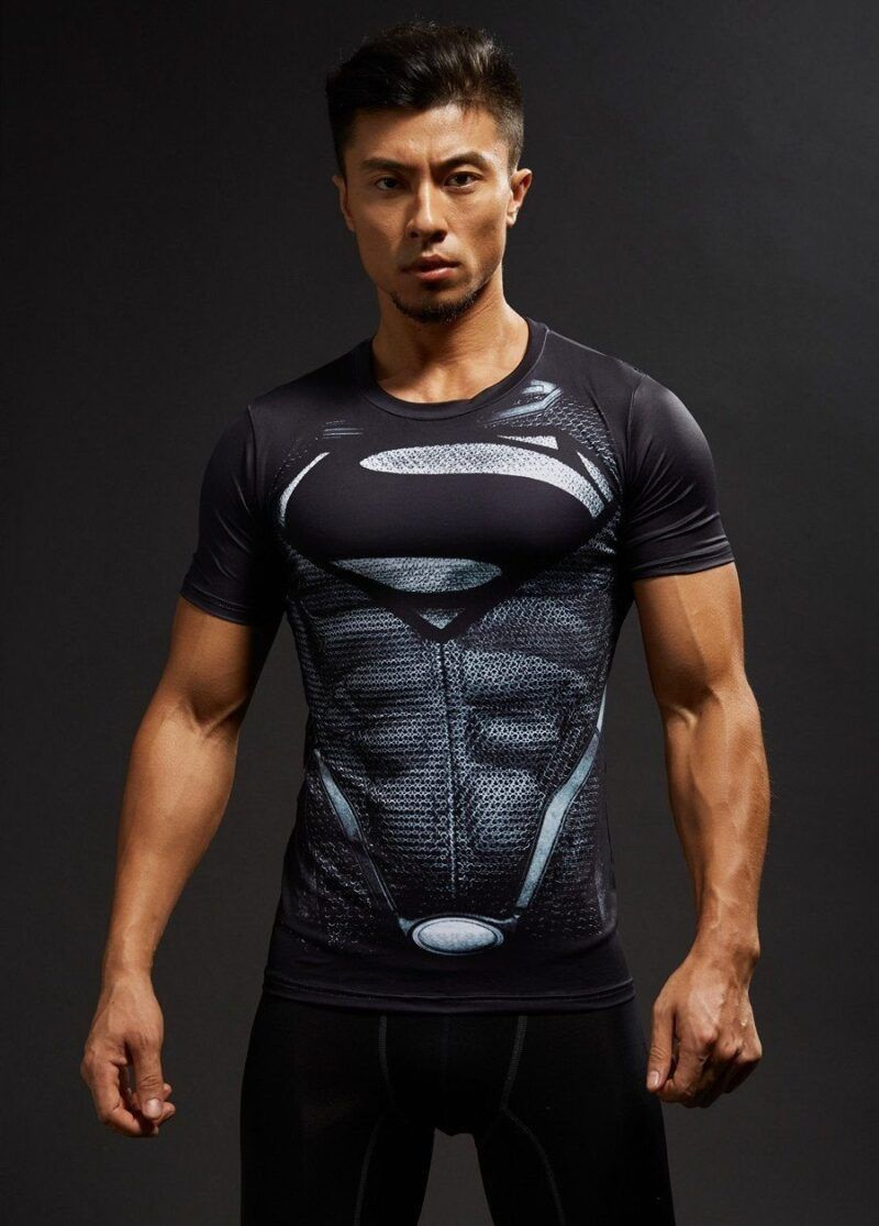 Man Of Steel Black Costume 3D Printed Short Sleeves Compression T-shirt