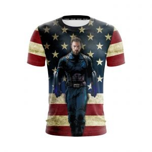 Marvel Captain America Avengers III Uniform US Flag T-Shirt
