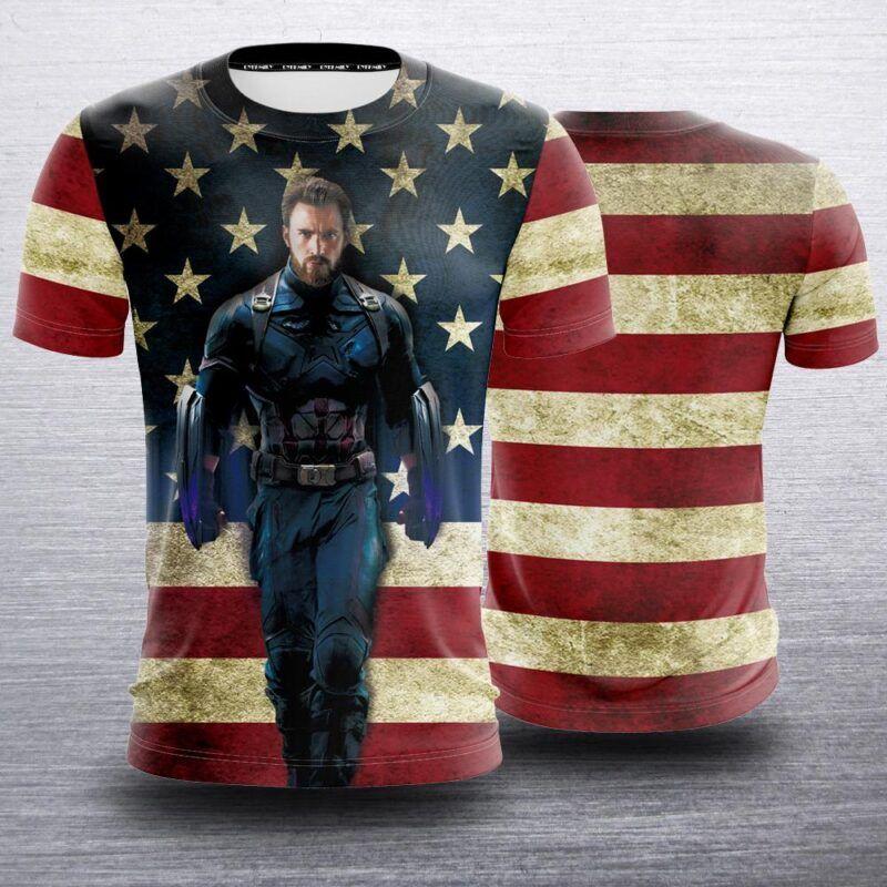 Marvel Captain America Avengers III Uniform US Flag T-Shirt