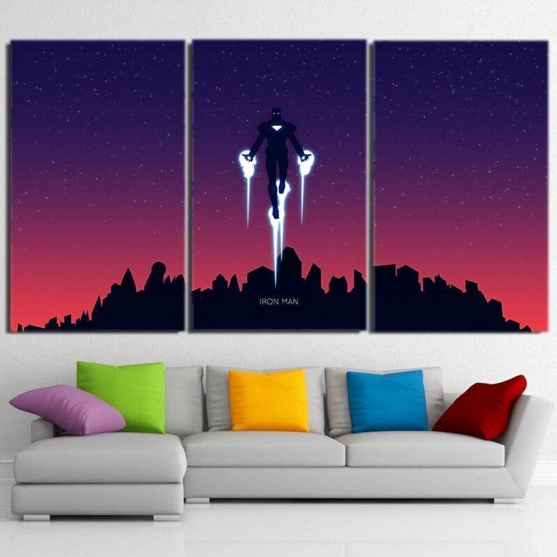 Marvel Comics Iron Man Fly Dark Style 3pcs Canvas Print