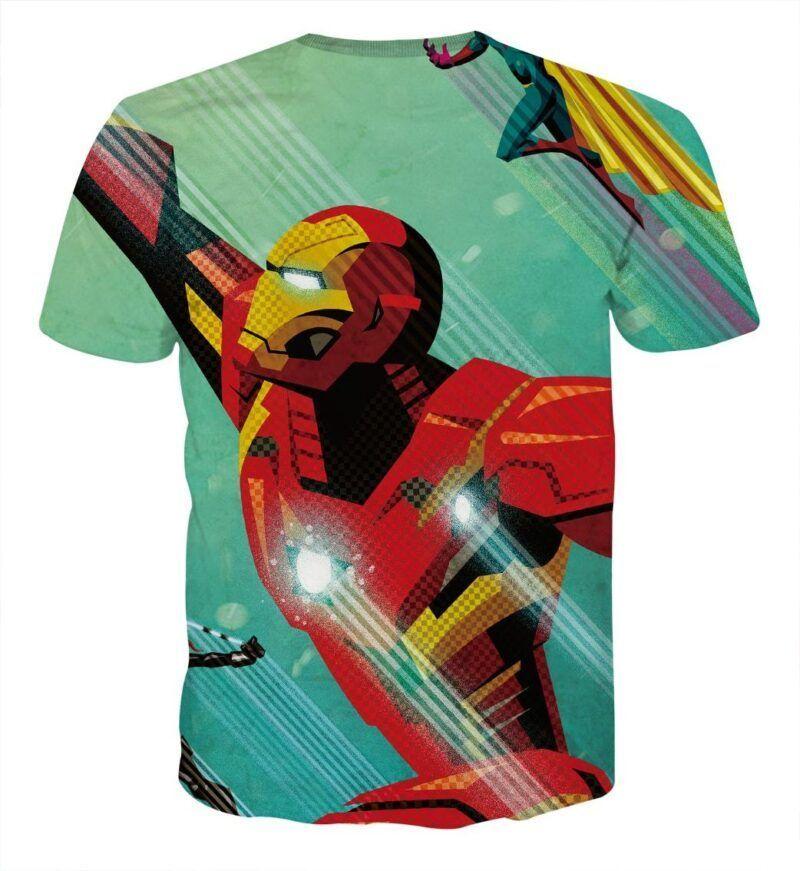 Marvel Comics Iron Man In Rush Attack Full Print T-shirt