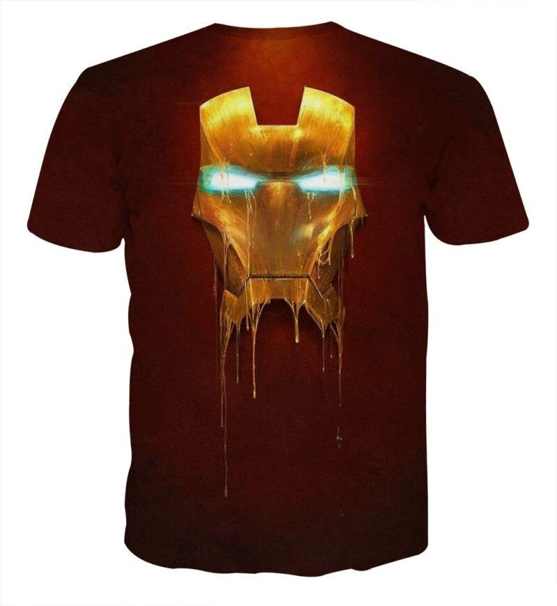 Marvel Comics Iron Man Mask Melting Full Print T-shirt