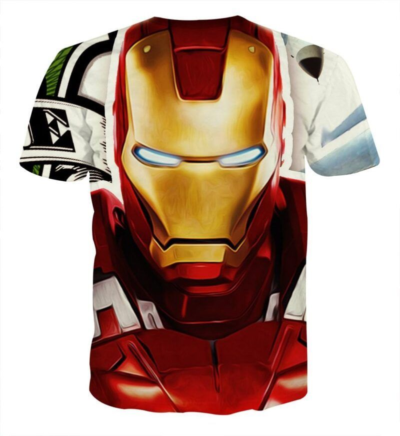 Marvel Comics Iron Man Portrait Design Full Print T-shirt