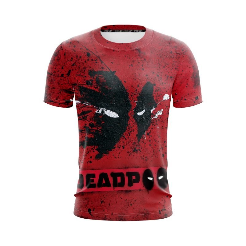 Marvel Cool Deadpool Mask Abstract Paint Design Red T-Shirt