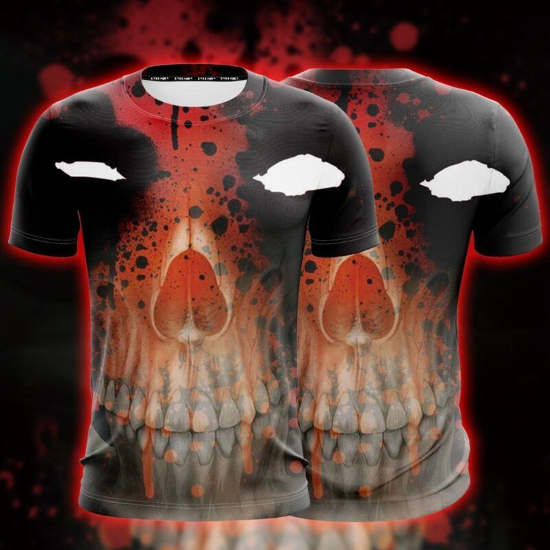 Marvel Deadpool Mask With Wade Skeleton Face Figure T-Shirt